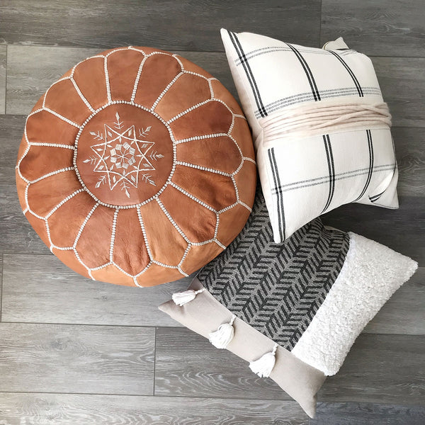Leather Moroccan Pouf - Tan
