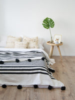 Moroccan Pom Pom Blanket - white and black