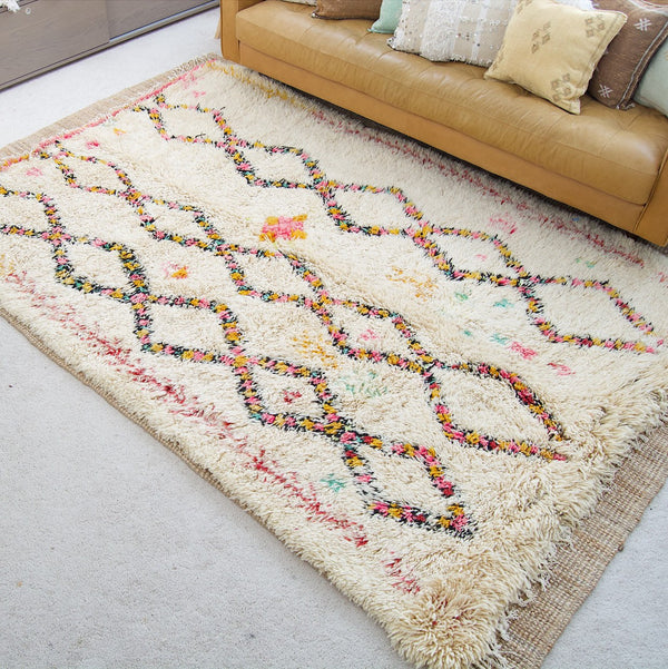 "RESERVED - 9'x 6'1"" Moroccan Beni Ourain Rug"