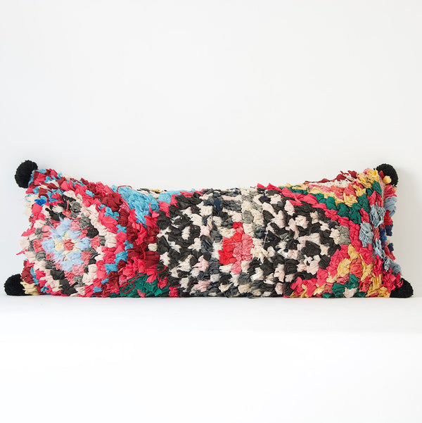 "31"" x 12"" Vintage Moroccan Cushion with pom poms - Lumbar Boucherouite Pillow cover"