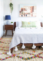 Moroccan Pom Pom Blanket - White Diamond