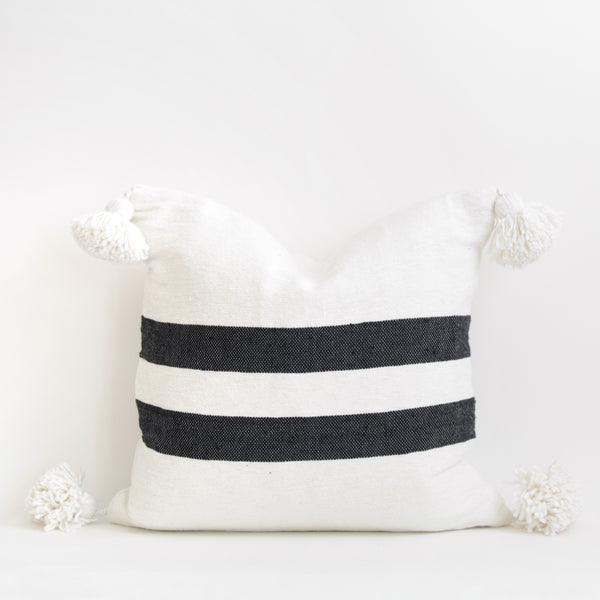 "20""x20"" Cotton Pom Pom Stripped Pillow Cover wih Tassels"