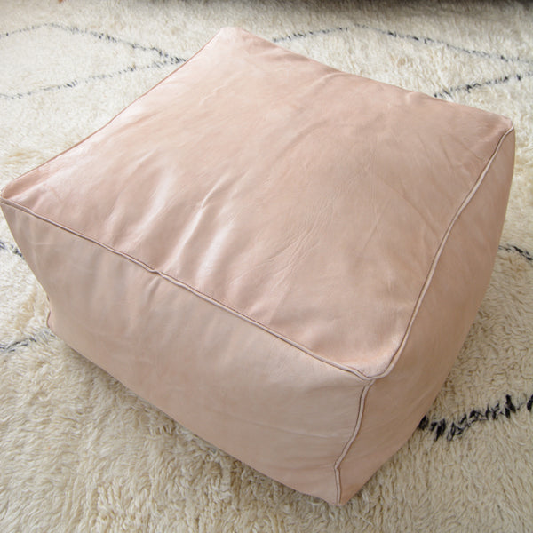 "24""x24""x16"" Large square Moroccan Pouf - Natural - Unstuffed"