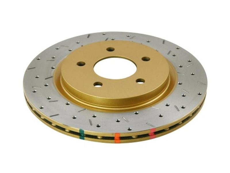 DBA 05-13 Ford Mustang GT/V6 Rear Drilled & Slotted 4000 Series Rotor w/ Gold Hat Hellhorse Performance