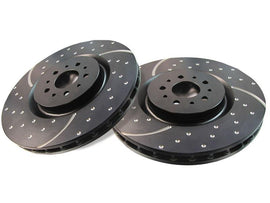 One Year Warranty For Both Left and Right Stirling NOTE: Exc Perf Pkg Front Premium Quality Cross Drilled and Slotted Coated Disc Brake Rotors And Ceramic Brake Pads - 2017 for Ford Mustang