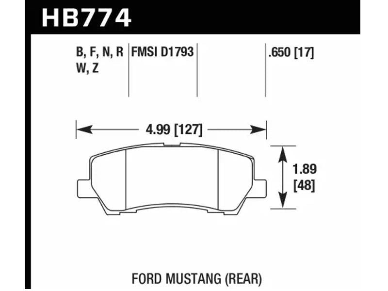 Hawk 15-17 Ford Mustang DTC-30 Rear Brake Pads Hellhorse Performance