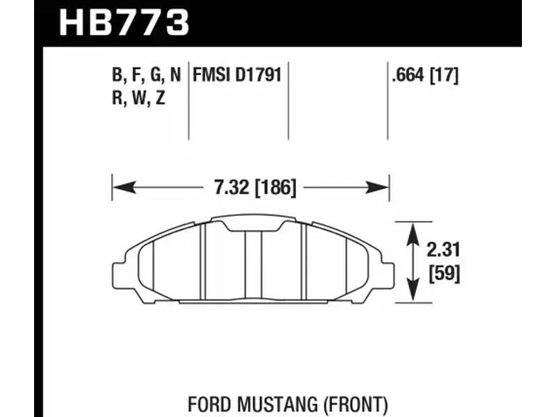 Hawk 15-17 Ford Mustang HP Plus Front Brake Pads Hellhorse Performance