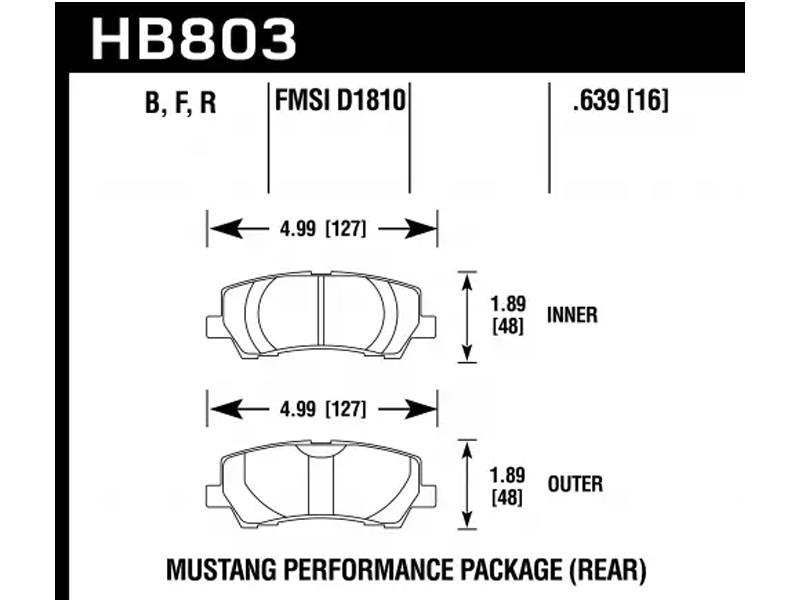 Hawk 16-17 Ford Mustang Brembo Package HPS Rear Brake Pads Hellhorse Performance