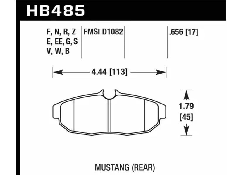 Hawk 2011-2012 Ford Mustang 5.0L Perf. 5.0 (w/Brembo Brakes) High Perf. Street 5.0 Rear Brake Pads Hellhorse Performance