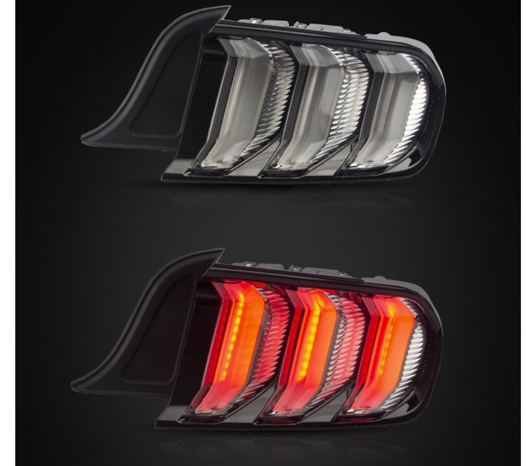 S550 Mustang Clear & Smoked Euro Tail Lamp LED Tail Light w/ Sequential Indicator & 5 Modes (15-20 Mustang) Hellhorse Performance®
