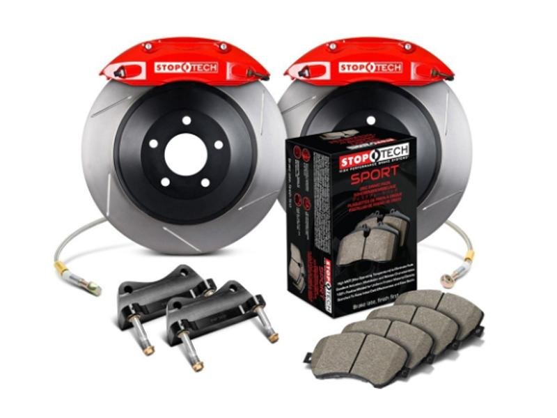 StopTech 05-14 Ford Mustang GT BBK Front ST-40 Red Calipers 1pc 355x32 Slotted Rotors Hellhorse Performance