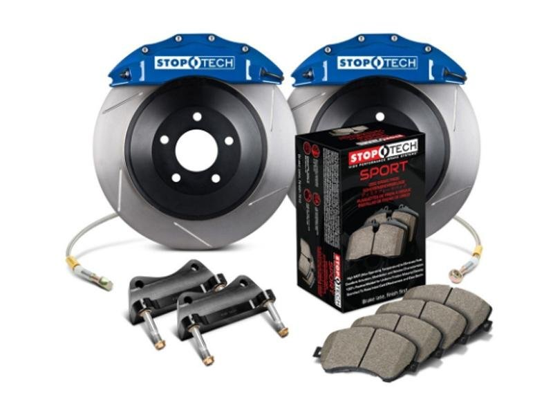 StopTech 2015 Ford Mustang GT Front Big Brake Kit Blue ST-60 Calipers 380x34mm Slotted 1pc Rotors Hellhorse Performance