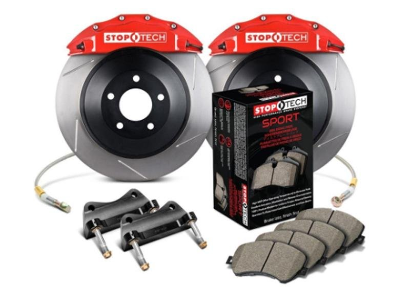 StopTech 2015 Ford Mustang GT Front Big Brake Kit Red ST-60 Calipers 380x34mm Slotted 1pc Rotors Hellhorse Performance