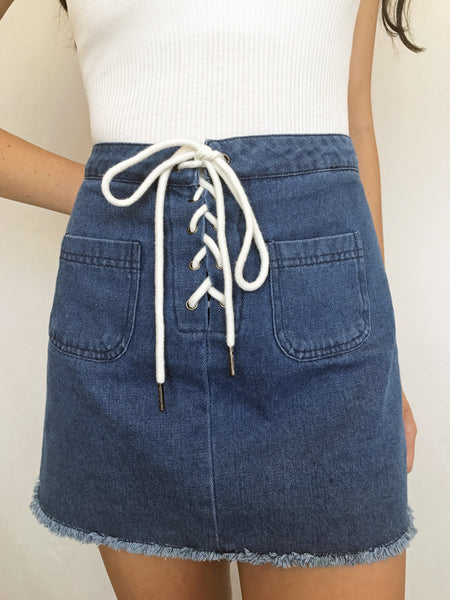 backseat besties denim skirt