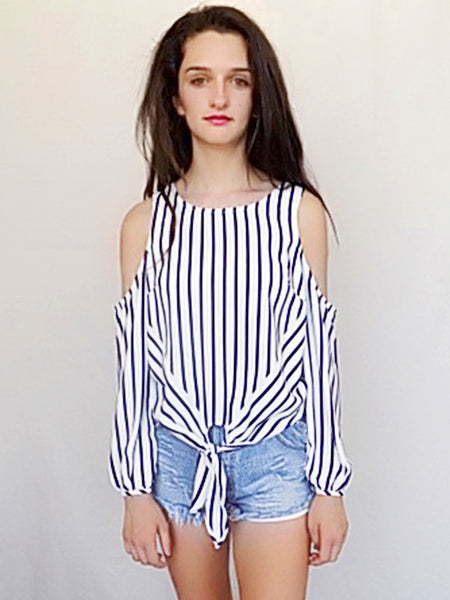 out of line cold shoulder top