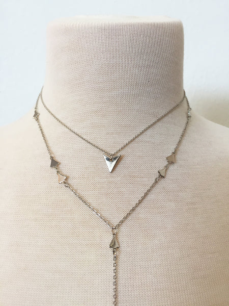 arrowhead layered lariat necklace