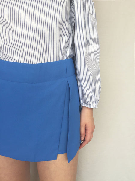 that's a wrap skort in maya blue