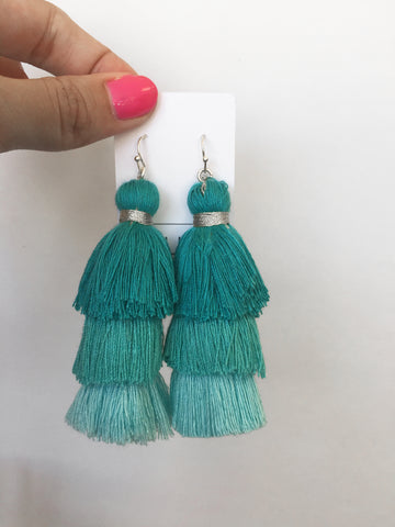 totally tiered tassel in aqua ombre