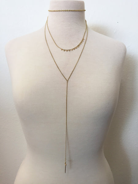 conqueror layered lariat necklace