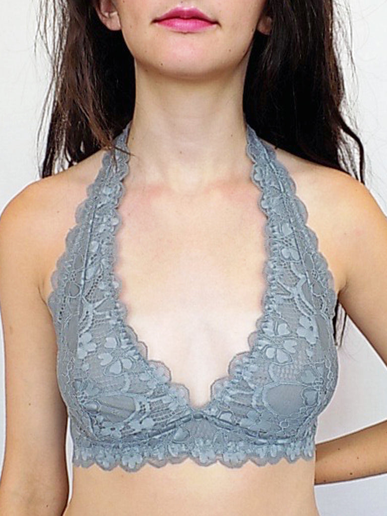 lace halter bralette in grey