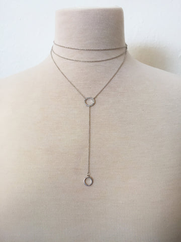 halo layered lariat choker