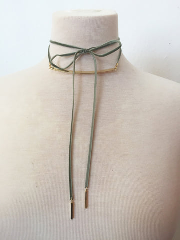 raising the bar velvet wrap choker in olive