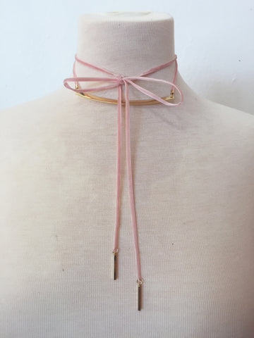 raising the bar velvet wrap choker in pink