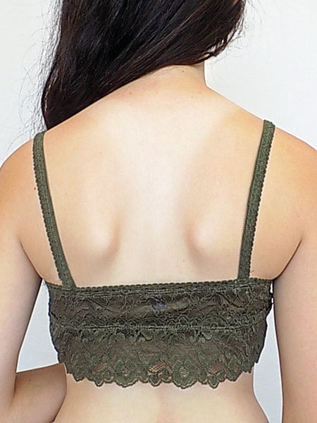 lace bralette in olive