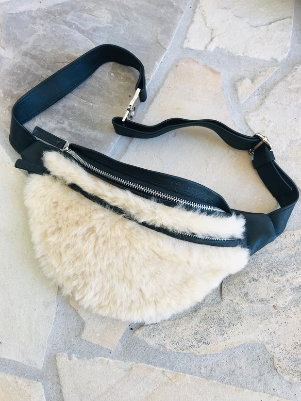 THE MUFF ~ Shearling / Black Leather LAST ONE!