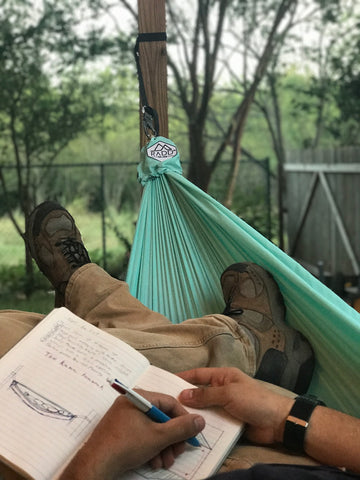 Hanging in a hammock while designing Made In USA outdoor gear