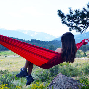 Red Grom Hammock. An Made in America Quality Ripstop Nylon Hammock. Easiest Hammock Ever