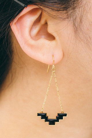 Gold & Black Geo Earrings