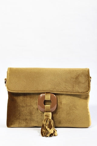 Golden Yellow Velvet Clutch