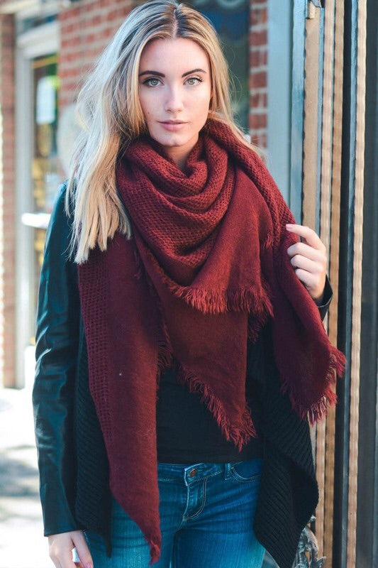 Burgundy Frayed Scarf