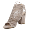 Image of VERSACE 1969  V ITALIA OPEN TOE SUEDE LEATHER MESH OPEN BACK PUMPS