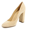 Image of VERSACE 1969  V ITALIA CHUNKY HEEL SUEDE LEATHER PUMPS