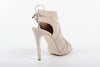 Image of VERSACE 1969  V ITALIA OPEN TOE SUEDE LEATHER LACE-UP OPEN BACK STILETTOS