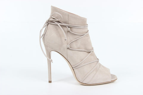 VERSACE 1969  V ITALIA OPEN TOE SUEDE LEATHER LACE-UP CLOSED BACK STILETTOS