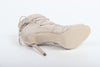 Image of VERSACE 1969  V ITALIA OPEN TOE SUEDE LEATHER LACE-UP CLOSED BACK STILETTOS