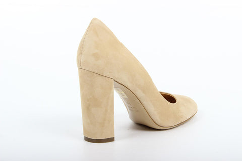 VERSACE 1969  V ITALIA CHUNKY HEEL SUEDE LEATHER PUMPS