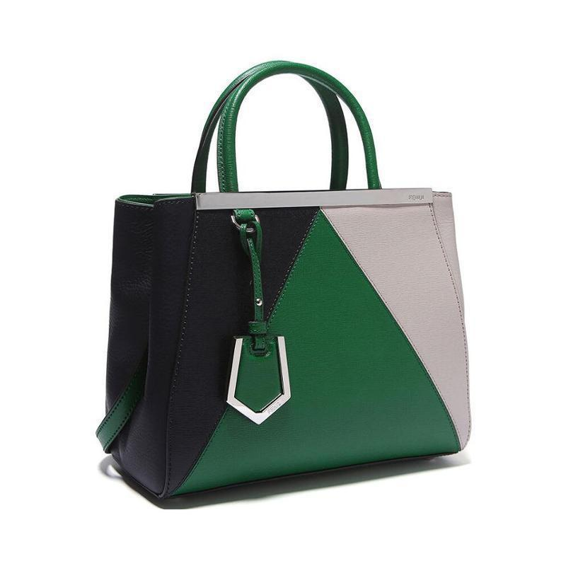 FENDI 2Jours Elite Black Leather Shopper Handbag – Green – MIVESTI ... dc64776a44c97