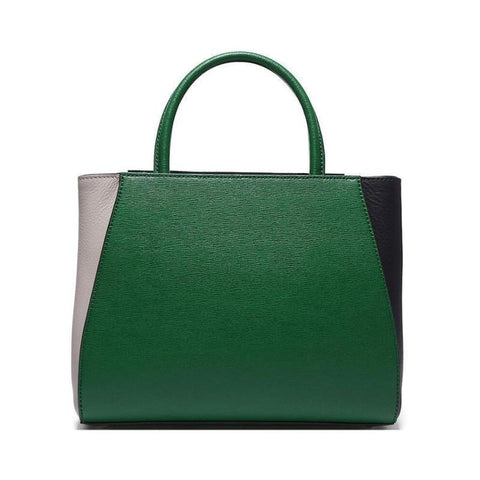FENDI 2Jours Elite Black Leather Shopper Handbag – Green