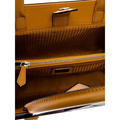 FENDI 2Jours Elite Black Leather Shopper Handbag – Tan