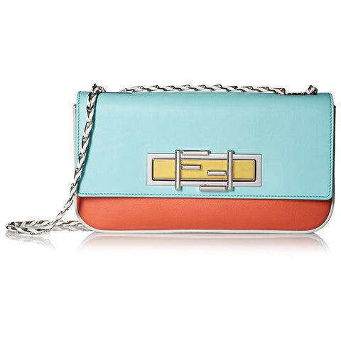 FENDI 3 BAGUETTE Light Red Leather Crossbody Bag – Mint Green