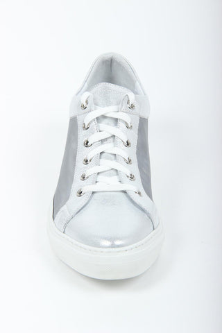 VERSACE 1969  V ITALIA WOMEN'S LEATHER AND MESH LACE UP SNEAKERS