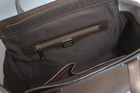 Lombardi L0019 Lussuria - Top Handle Bag - Bronzo Taupe - Blue Nero - MilanoFashion56.com