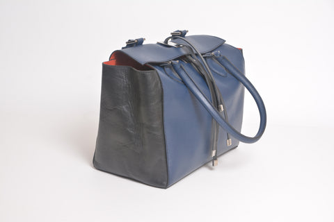 Lombardi Venere L0015 Venere Top Handle Bag - Blue Nero - MilanoFashion56.com