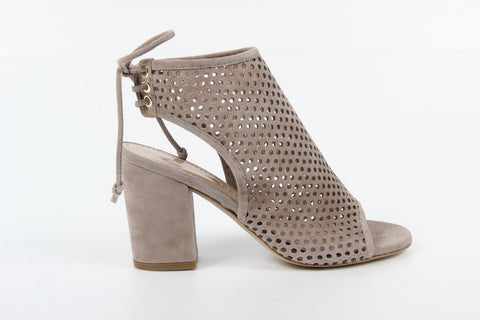 VERSACE 1969  V ITALIA OPEN TOE SUEDE LEATHER MESH OPEN BACK PUMPS