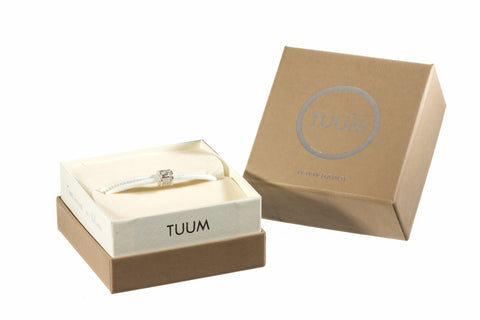 TUUM INCIPIT MATER Sterling Silver White Leather Bracelet