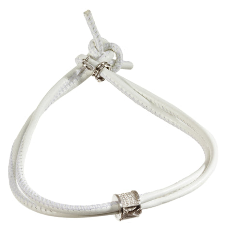TUUM INCIPIT MATER Sterling Silver White Leather Bracelet - MilanoFashion56.com